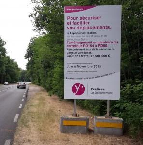 panneau affichage contruction rond point rd154